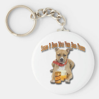 Share A Beer With American Staffordshire Terrier Basic Round Button Keychain