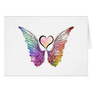 Share - Angel Wings and Heart Card