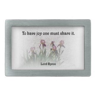 Share Joy Quote with Purple Irises Rectangular Belt Buckle