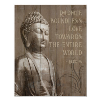 Share the Love Buddhist Wood Effect Buddha Quote Poster