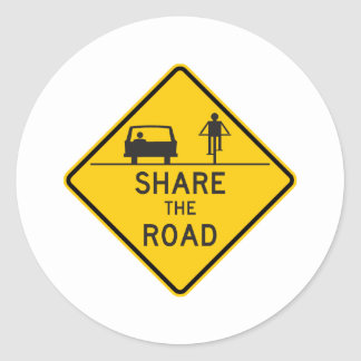 Share the Road Highway Sign Round Sticker