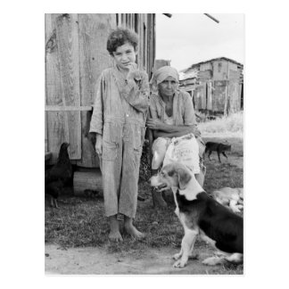 Sharecropper Family with Hound Dog, 1935 Postcard