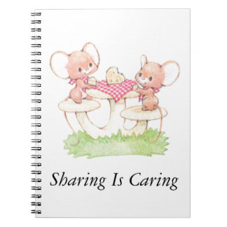 Sharing Is Caring Spring Summer Mice Spiral Notebook