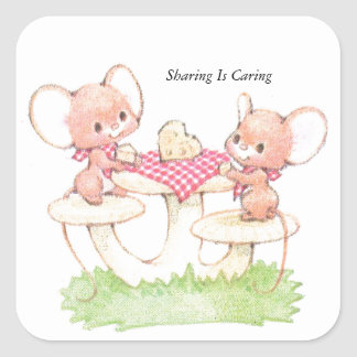 Sharing Is Caring Spring Summer Mice Square Sticker