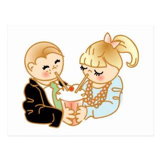 Sharing Romantic Ice Cream Postcard
