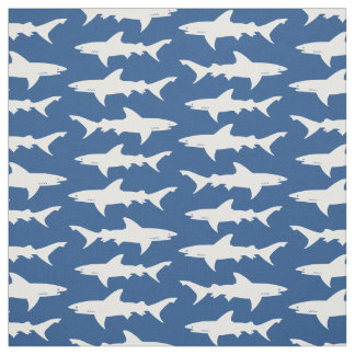 Shark Attack Blue and White School of Sharks Fabric