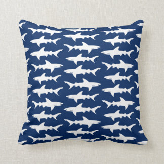 Shark Attack School of Sharks in Blue Ocean Throw Pillow