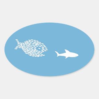 Shark attack oval sticker