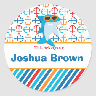 Shark Back to School Personalized Round Stickers