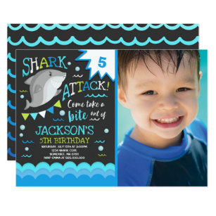 Shark Birthday Invitation Pool Party