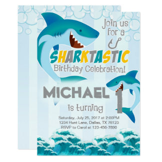 Shark Birthday Party Invitation Invite Boy