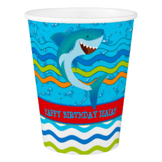 Shark Birthday Party Personalized Paper Cups