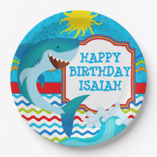 Shark Birthday Party Personalized Paper Plates 9 Inch Paper Plate