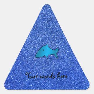Shark blue glitter triangle sticker