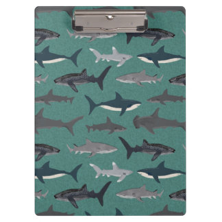 Shark Boys Green Ocean Animals / Andrea Lauren Clipboards