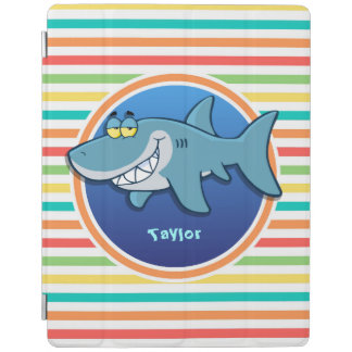 Shark; Bright Rainbow Stripes iPad Cover