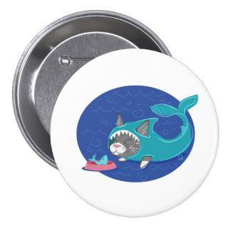 Shark Cat - Badge 3 Inch Round Button