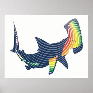 Shark Color Swirl Poster