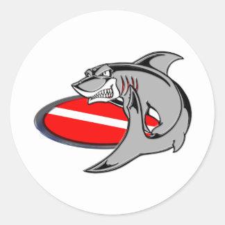 SHARK DIVER CLASSIC ROUND STICKER