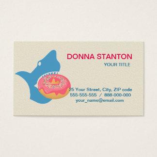 Shark eating a donut business card