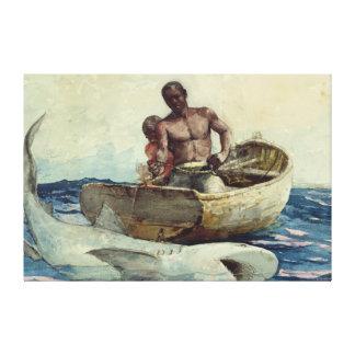 Shark Fisherman Canvas Print