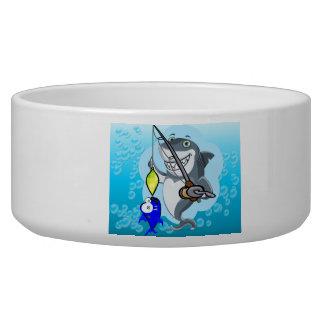 Shark fishing a fish cartoon