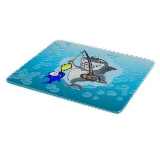 Shark fishing a fish cartoon boards