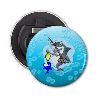 Shark fishing a fish cartoon button bottle opener