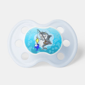 Shark fishing a fish cartoon pacifier