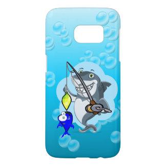 Shark fishing a fish cartoon samsung galaxy s7 case