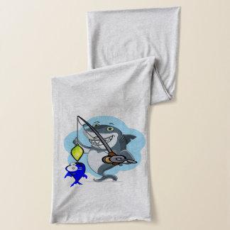 Shark fishing a fish cartoon scarf