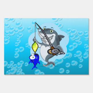 Shark fishing a fish cartoon sign