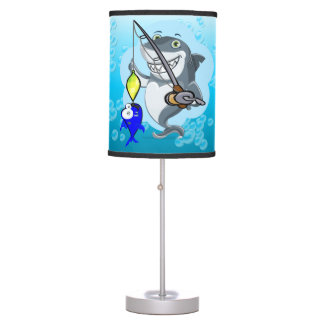 Shark fishing a fish cartoon table lamp