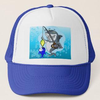 Shark fishing a fish cartoon trucker hat
