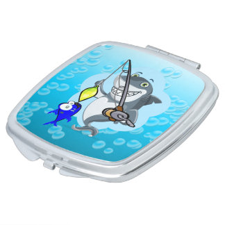 Shark fishing a fish cartoon vanity mirrors