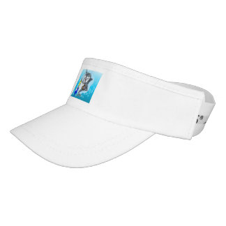 Shark fishing a fish cartoon visor