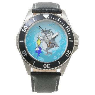 Shark fishing a fish cartoon watch