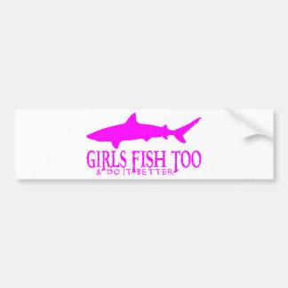 SHARK FISHING GIRL BUMPER STICKERS