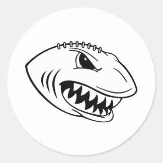 Shark Football Classic Round Sticker