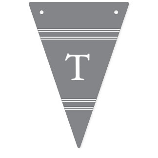 Shark Grey with White Wedding Detail Bunting Flags