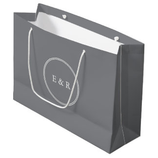 Shark Grey with White Wedding Detail Large Gift Bag