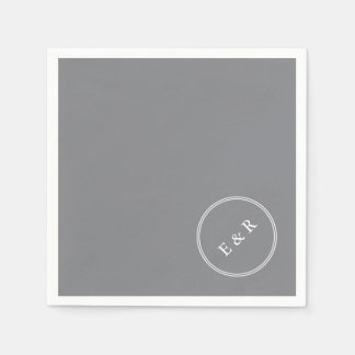 Shark Grey with White Wedding Detail Paper Napkin