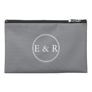 Shark Grey with White Wedding Detail Travel Accessory Bags