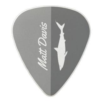 shark guitarist, custom name, black/white acetal guitar pick
