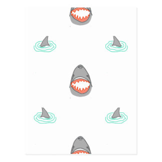 Shark heads & Fins in Grey on White/Aqua Ripples Postcard