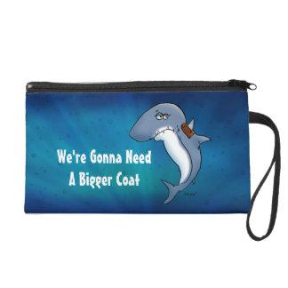 Shark Needs A Bigger Coat Funny Cartoon Bag Wristlets