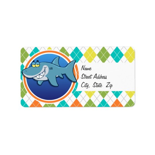Shark on Colourful Argyle Pattern Label