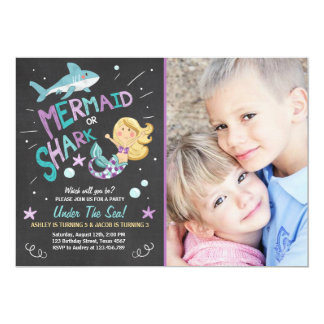 Shark or Mermaid birthday invitation Joint Bday