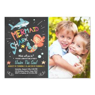 Shark or Mermaid birthday Invitation Joint Bday