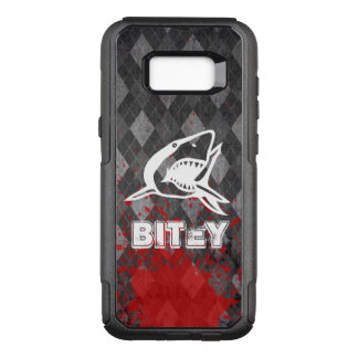 Shark Pictogram on Grungy Black Argyle OtterBox Commuter Samsung Galaxy S8+ Case